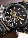OCHSTIN Luxury Military Style Luminous Big Dial Leather Quartz Men Watch