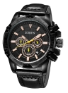 OCHSTIN Estilo militar de luxo Luminous Big Dial Leather Quartz Men Watch