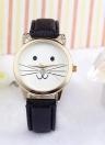 Новая мода Женская All-Match Аксессуары Нейтральный Diamond Lovely Кошки Лицо Faux Кожаный диапазон Кварцевые часы