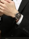 KINYUED Affaires Montre 3ATM Étanche Automatique Mécanique Hommes Montres Lumineux Véritable Montre-Bracelet En Cuir Mâle Relogio Musculino
