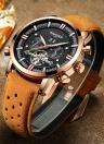 KINYUED Business Watch 3ATM resistente à água relógio mecânico automático relógio de relógio de couro genuíno masculino Relogio Musculino calendário