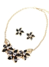 Moda Jóias Set Flores Drop Diamond colar curto brincos feminino Party Accessory