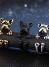 Moda de moda perro anillo Bulldog anillo abierto para mujeres personalidad joyería decoración de la mano