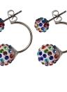 Модные хрустальные бриллиантовые шарики для ушей с ушами с двойными шариками для женщин и девочек