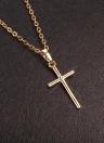 Collar pendiente de la manera del encanto de cobre Cruz chapado en oro joyería de la cadena para la boda de los hombres de las mujeres unisex del regalo del partido de las muchachas