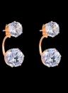 Moda Charme Frente Verso Dupla Face Half-círculo zircão cristal strass banhado a ouro orelha Brinco Jóias para Mulheres