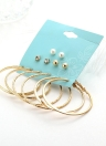 Fashion Personality Large Ring Earrings Pearl Ear Studs