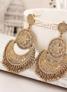 Retro Style Flowers Lua Tassel Brincos Trendy Classic Double Round Earrings
