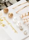 6 pares de pernos prisioneros del oído fijaron la perla helada gran círculo pendientes de la personalidad del cristal de la joyería