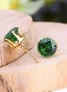 1pair circón de cristal claro 18K Gold Plated corona oído Stud pendiente joyas regalo para mujer dama