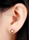 1Pair claro cristal zircão 18k Gold Plated coroa orelha Stud brinco jóias presente para mulheres senhora