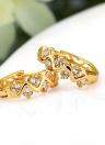 1pair claro de cristal de circón 18K Gold Plated onda aro hueco pendientes joyas regalo para mujer dama