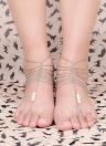 Sandália com os pés descalços elegante pé corrente pulseira tornozeleira Pearl Multi Tassel praia