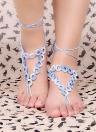 Gradiente de Color algodón hilo Crochet pie cadena pulsera tobilleras geométrica descalzo sandalia de la playa