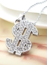 Personalized Rhinestone US Dollar Pendant Necklace