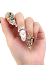 1pc Fashion Nail Schmuck Bowknot Krone Crystal Finger Nail Art Ring Beauty Nail Art bezaubert