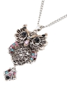 Mode Vintage rétro cristal coloré creux Owl pendentif collier pull chaîne alliage métallique oiseau bijoux en strass pour femme fille