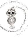Creusent de la mode Vintage Retro noir yeux strass Multi couches Owl pendentif collier pull Chain alliage métallique oiseau bijoux pour femme fille