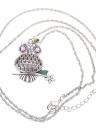 Vintage retrô filial Cristal strass oco verão coruja pingente colar camisola cadeia liga metálica pássaro bijuterias para menina mulher