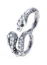 Cobra prata homens vintage feminino reluzente strass duplo redondo dedo anéis jóias retrô