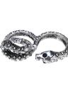 Serpent argent des hommes vintage femmes Shinning strass Double rond doigt bagues bijoux rétro