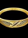 Bracelet jonc en laiton intégrée avec Zircon AAA avec une ouverture & filets Hexagon accessoires Fashional Golden & Or Rose pour les femmes