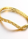 Waved Hollow Brass Bangle Bracelet Fashional Accessories for Women