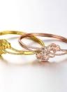 Bracelet jonc en laiton intégrée avec Zircon AAA avec une ouverture & creux feuilles or & Golden Rose Fashional accessoires pour femmes