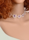 Sweet White Lace Daisy Flower with Extended Chain Choker Necklace