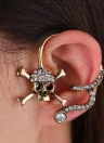 Fashion Chic Personalized Exaggerated One-ear Skull Punk Style Diamond Hanging Earrings for Women