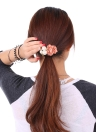 Aritificial Pearl Bead High Elastic Flower Rhinestone Ponytail Holder Hair Band