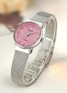 WWOOR Fashion Diamond Mesh Stainless Steel Quartz Women Watch