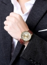 Daniele Business Casual Wrap polso quarzo orologio elettronico dorato quadrante rotondo Display digitale analogico zinco lega caso marrone cinturino in pelle cinturino 40mm