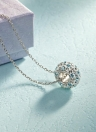 925 Sterlingsilber Art und Weise einzigartige Stein-Anhänger Kristall Strass Halskette Kette Schmuck Zubehör für Frauen-Mädchen-Geschenk