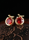 Crystal Rhinestone Gold Plated Metal Copper Ear Stud Earring