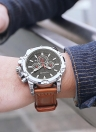 OCHSTIN роскошный военный стиль светящиеся большие циферблаты кожаные кварцевые мужские часы