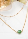 Elegant Natural Crystal Pendant Choker Gold Alloy Casual Women Necklaces