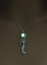 Fashion Retro Moon Glowing Hollow Necklace Turquoise Mermaid Pendant
