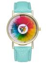 Muestras de la rueda de color de la vendimia Reloj de cuero de estilo clásico para mujeres Reloj de hombre Ideas de regalos de boda de cumpleaños T04