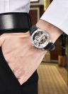 IK CORANTES Homem de luxo auto-enrolamento automático relógio mecânico 5ATM resistente à água de couro genuíno de aço inoxidável esqueleto Assista
