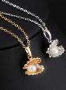 Rhinestone cristalino del oro de la mujer de la muchacha de la manera plateó Shell colgante collar de la clavícula joyería de la cadena para el regalo de boda del partido