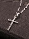 La moda de lujo de cobre de oro colgante collar Zircon Rhinestone Crystal Cruz joyería de la cadena para la boda de las mujeres del regalo del partido de las muchachas