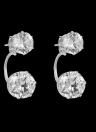 Encanto de la manera Anverso doble cara semicírculo Zircon Rhinestone cristalino del chapado en oro del oído del perno prisionero de la joyería de la boda del partido de las mujeres