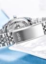 OUBAOER Мода Роскошные женские часы из нержавеющей стали Кварц 3ATM Водонепроницаемая повседневная женщина Наручные часы Relogio Feminino Calendar