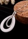 Fille Femmes Mode Unique Argent 925 strass cristal Zircon céramique Anneaux doubles Goutte d'Eau Collier Pendent Bijoux de la chaîne pour les cadeaux de mariage Party