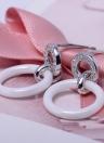 Único de la manera muchachas de las mujeres S925 Nano Cerámica Zircon del círculo de los pendientes de gota para el oído cuelga el regalo de boda del partido