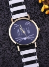 OKTIME New Cute Simple Cat Lovely Glass Mirror Steel Strap Quartz Watch