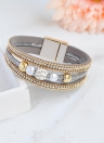 Fashion  Multi-layer Crystal Beaded Leather Type Wristband