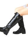 Women Round Toe Mid Calf Matte Leather Boots