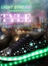 Moda donna Unisex uomo Lace Up ricaricabile 7 colori che cambiano LED luminoso illuminazione scarpe Casual Sportswear Sneaker con stelle fluorescenti